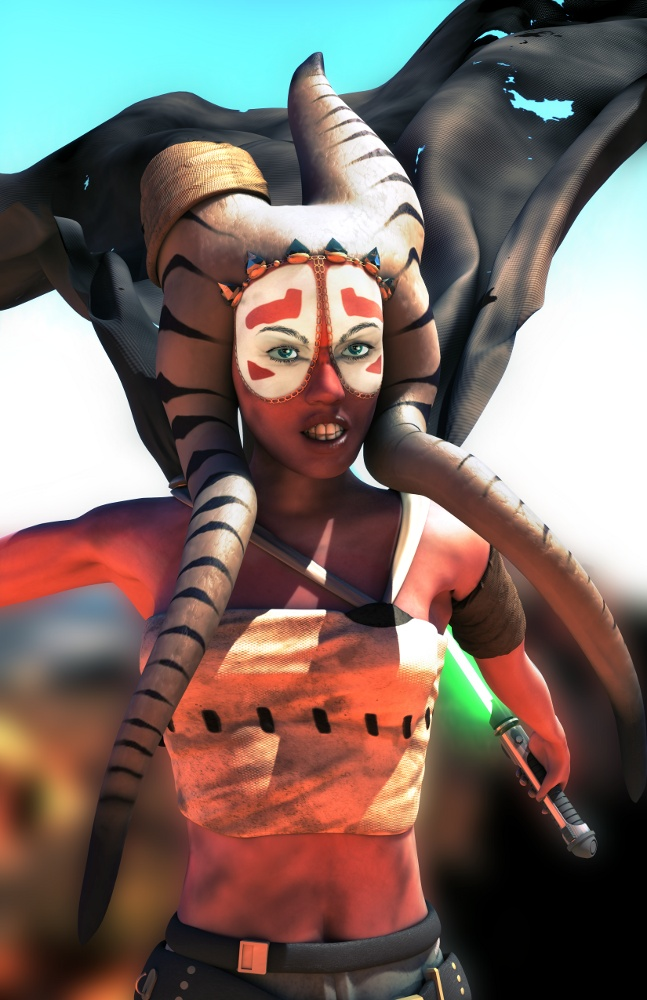 3D render of a Togruta Alien character inspired by Star Wars